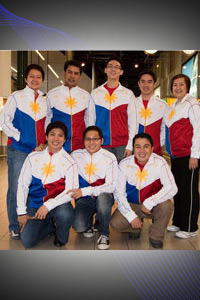 RP Team to Men World Championships, Munich, Germany August 2010 Outfitted by ACCEL. L-R Coach Jojo Canare; Raoul Miranda; Kenneth Chua; Chester King; Head of Delagation PBC Sec Gen Bong Coo; Front L-R : Frederick Ong; Biboy Rivera; Benshir Layoso