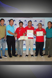 From left: Jino L. Ferrer, Sports Marketing and Product Manager; Willie L. Ortiz, President - ACCEL; Johann Randall P. Abrina, RP Memory Player (Silver medalist); Robert M. Racasa, RP Memory Player; Almario Marlon Q. Bernardino Jr., RP Memory Delegation Head / Coach; Louie P. Laroza, Sourcing Director - ACCEL