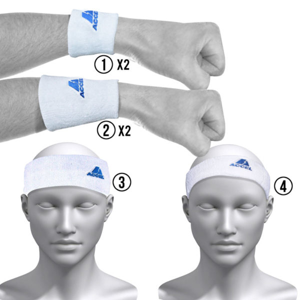 HEADBANDS AND WRISTBANDS 6-PIECE SET M (WHITE)