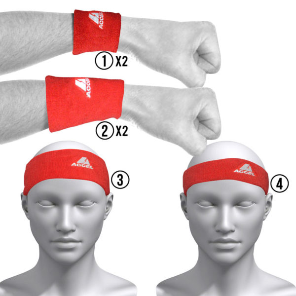 HEADBANDS AND WRISTBANDS 6-PIECE SET M (RED)