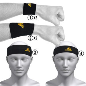 HEADBANDS AND WRISTBANDS 6-PIECE SET M (BLACK)