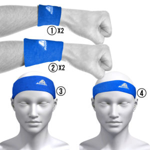 HEADBANDS AND WRISTBANDS 6-PIECE SET M (BLUE)