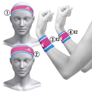 HEADBANDS AND WRISTBANDS 6-PIECE SET W (PINK)