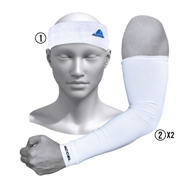 HEADBAND AND SPORT SLEEVES M (WHITE)