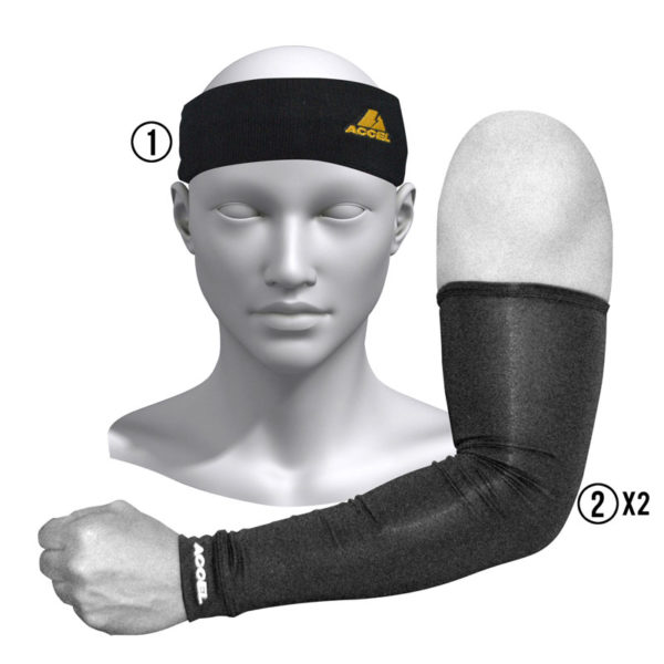 HEADBAND AND SPORT SLEEVES M (BLACK)