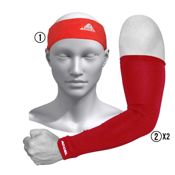 HEADBAND AND SPORT SLEEVES M (RED)