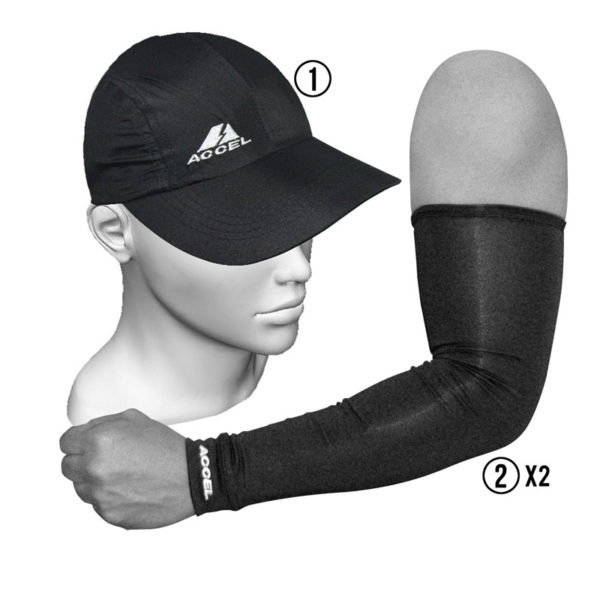 SPORT SLEEVES AND SPORTS CAP (BLACK)