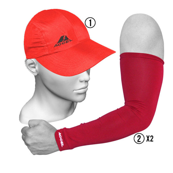 SPORT SLEEVES AND SPORTS CAP (RED)