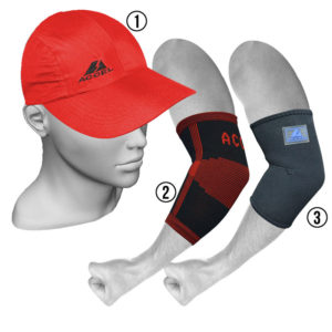 ELBOW SUPPORTS AND SPORTS CAP