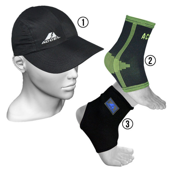 ANKLE SUPPORTS AND SPORTS CAP